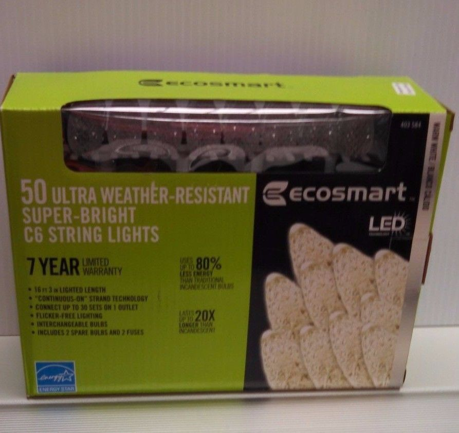 ECOSMART 50 ULTRA WEATHER RESISTANT WARM WHITE C6 STRING LIGHTS 16FT 3IN - Lights