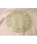 Green Cake Plate Depression Glass Cherry Blossom - $49.99