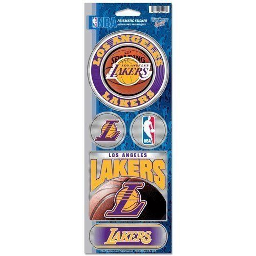 LOS ANGELES LAKERS PRISMATIC HOLOGRAPH STICKER DECAL SHEET OF 5 NBA BASKETBALL