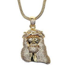 "18k Gold Plated 1.5"" CZ Mini Jesus Piece Pendant with 32"" Franco Chain H... - $54.44"