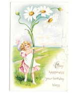 Tuck Fantasy Birthday Postcard Embossed Girl with Giant Daisies Child Flowers - £3.87 GBP