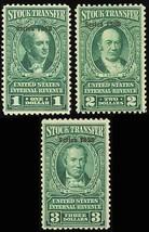 RD323-2325, Three Mint NH F-VF Stock Transfer Stamps Cat $117.50 - Stuar... - $75.00