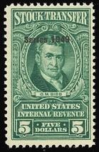 RD301, VF Mint NH $5 Stock Transfer Stamp in Green Cat $72.50 - Stuart Katz - $50.00