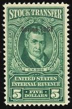 RD353, Mint LH $5 Stock Transfer Stamp in Green Cat $75.00 - Stuart Katz - $55.00