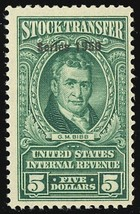 RD327, Mint XLH $5 Stock Transfer Stamp in Green Cat $60.00 - Stuart Katz - $35.00