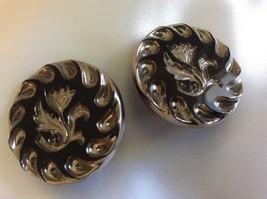 "Vintage Elegant Gold Tone Black Glass Carved Flower 11/8""  Clip Earrings - $38.61"