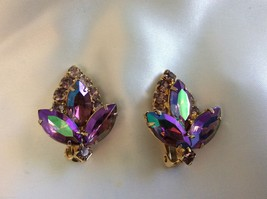 VTG Gold Tone Czech Purple Aurora Borealis  crystal Rhinestone clip on e... - $54.45