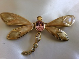 VTG  KJL for AVON Pink Enamel & Crystal gold tone Dragonfly pin brooch - $38.61