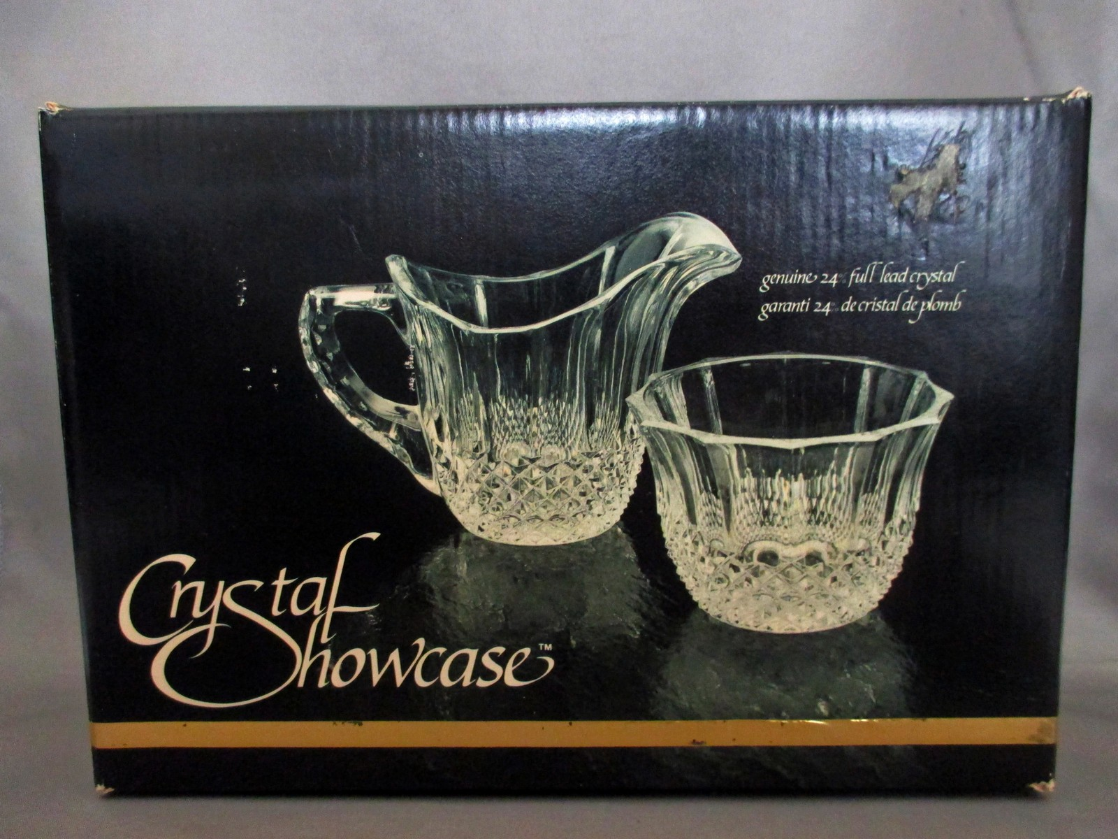 Crystal Cream and Sugar Set NIB from the  European Collection W. Germany