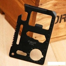 New Mini Stainless Steel Multi-function Survival Wallet Tool (Black)