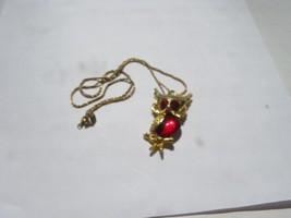 Gold Color Owl With Red Belly And Eyes On Gold Color Chain - $9.89