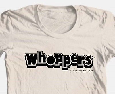 Whoppers T-shirt retro candy food funny 100% cotton graphic printed tee vintage