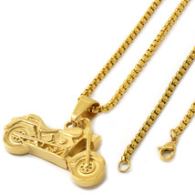 "Men Gold Tone Stainless Steel Motocycle Pendant 3mm 24"" Box Chain Necklace - $29.69"