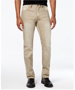 NEW MENS INC BERLIN SLIM STRAIGHT KHAKI WASH COTTON DENIM JEANS - $24.99