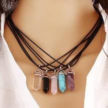 Fashion New PU Leather Chain Mens Womens Created Gemstone Natural Stone Hexagona - $8.06