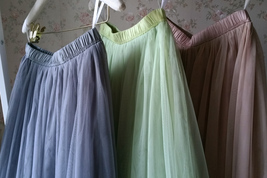 GRAY Elastic High Waisted Full Midi Tulle Skirt Plus Size Bridesmaid Midi Skirt image 11