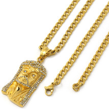 "Men Gold Tone Stainless Steel Slim Cz Jesus Pendant 4mm 24"" Cuban Chain ... - $29.69"