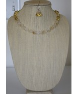 White/Champagne Gold Carved Flowers Quartz& Rutilated Quartz Necklace & ... - $39.00