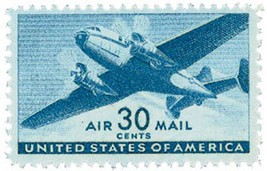 1941 30c Twin-Motored Transport Plane, Air Mail... - $1.98
