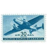 1941 30c Twin-Motored Transport Plane, Air Mail, Blue Scott C30 Mint F/V... - $37,43 MXN