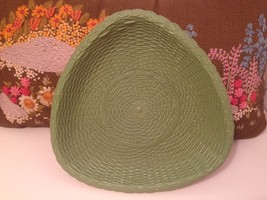 "Vintage Retro 10"" Regaline Green Basket Weave Serving Bowl Dish THICK PL... - $3.75"