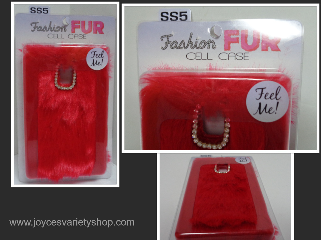 Red fur cell phone case collage