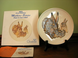 Goebel 1975 Mothers Series Collector Plate First Edition ~ Rabbits ~ COA ~ - $24.99