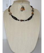 Tiger Skin Turquoise and Onyx Necklace and Earring Set - $39.00