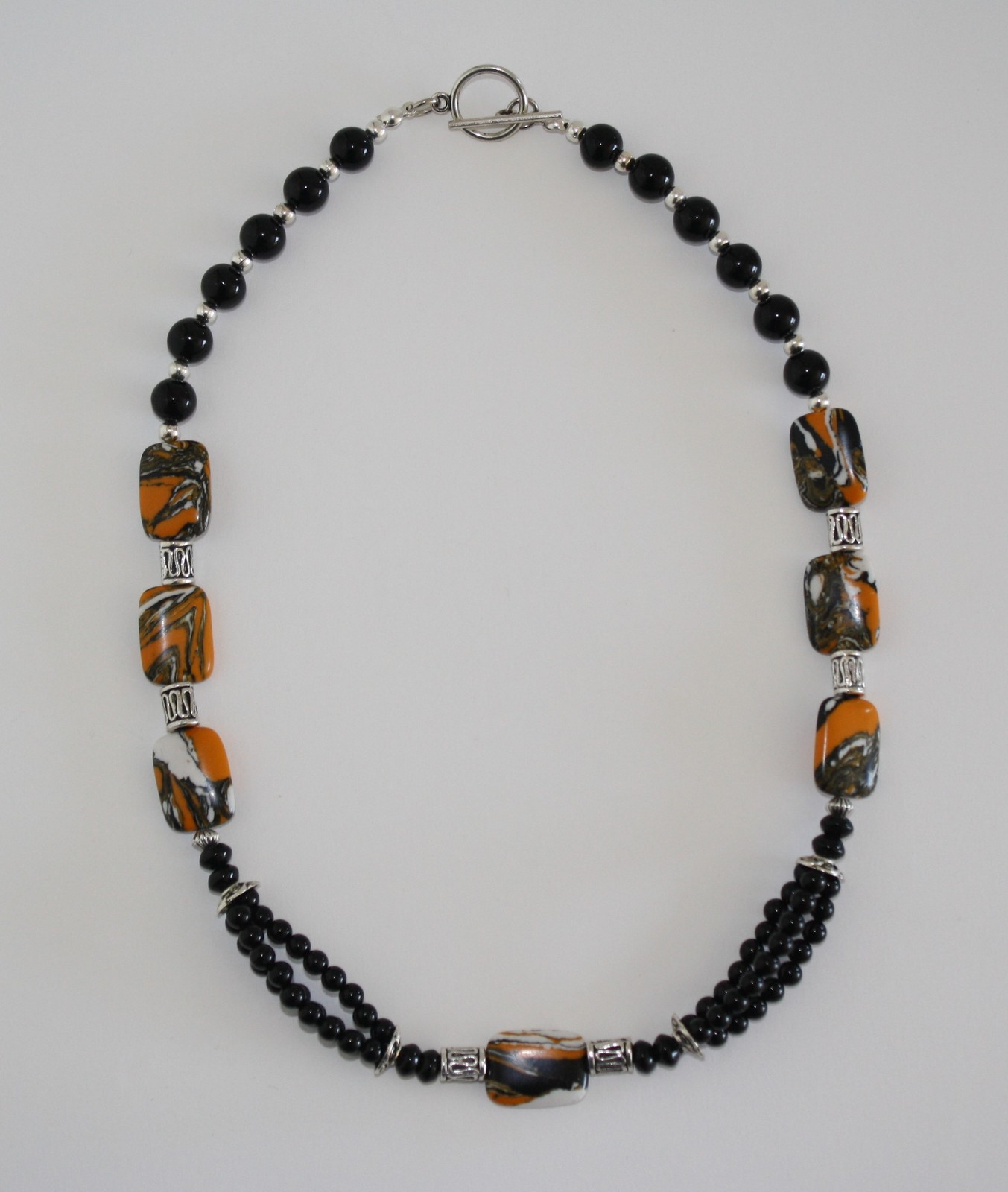 Tiger Skin Turquoise and Onyx Necklace and Earring Set