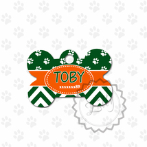 Green and Orange Pet tag, custom paws and zig-zag design metal ID for pets - $8.99