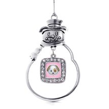 Inspired Silver Puppy Emoji Classic Snowman Holiday Christmas Tree Ornament - $14.69