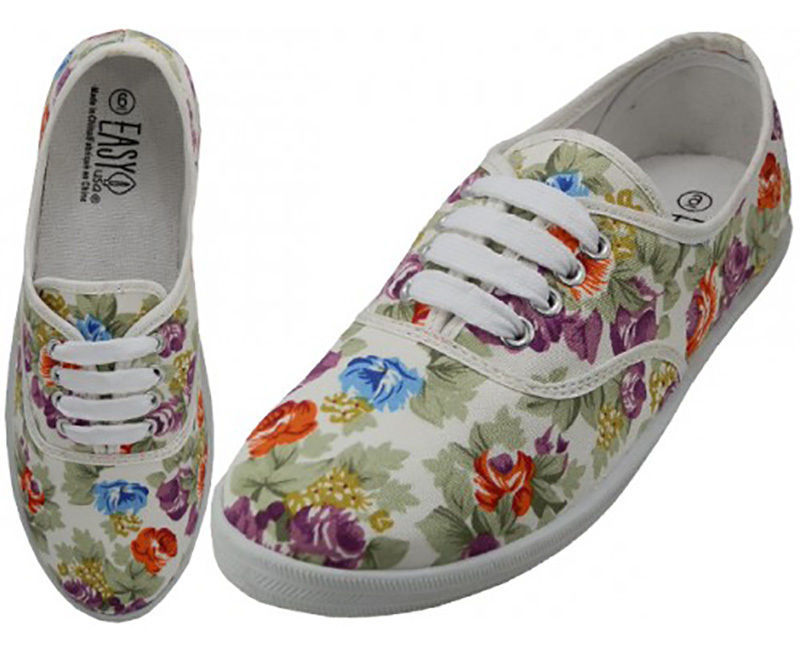 Womens White Multicolor Floral Print Canvas Sneakers Tennis Shoes Lace Up NEW