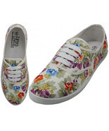 Womens White Multicolor Floral Print Canvas Sneakers Tennis Shoes Lace U... - £11.79 GBP