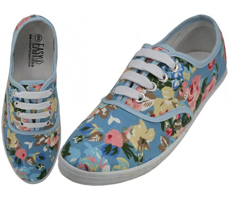 Womens Carolina Blue Floral Print Canvas Sneakers Lace Up Tennis Shoes Size 6-11
