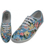Womens Carolina Blue Floral Print Canvas Sneakers Lace Up Tennis Shoes S... - $402,60 MXN