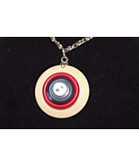 Red White and Blue Patriotic Button Necklace Ha... - $14.99