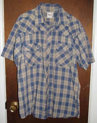 Mens Western Plains Trading Co. Western Pearl Snap Shirt Sz Medium Blue Plaid