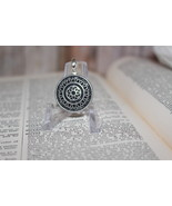 Silver Tone Medallion Pendant Upcycled Button Unisex great for Man or Woman - $9.99
