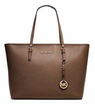 NWT MICHAEL KORS Jet Set Saffiano Leather Travel TopZip Tote Dark Dune M... - $246.05