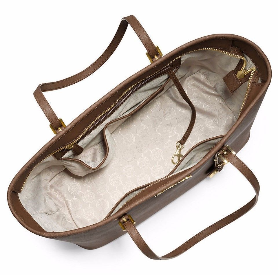 NWT MICHAEL KORS Jet Set Saffiano Leather Travel TopZip Tote Dark Dune MSRP $278