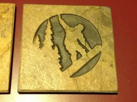 "Made USA slate tile coaster engraved winter alpine Snowboarder 4"" square"