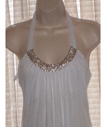 Size M  or L SAPA White Halter Summer Casual  Above Knee Rayon Spandex D... - $14.50