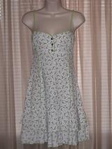 ETS ELEMENTS White Green Floral Stretch Spaghetti Strap Dress  (EU40) M - $24.99