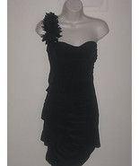 Party Event One Shoulder Stretch Black Bodycon Poly Mini  Dress Size S (M) - $24.99