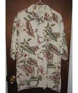 Mens Island Republic Silk Hawaiian Shirt Sz XL Tan Floral - $12.99