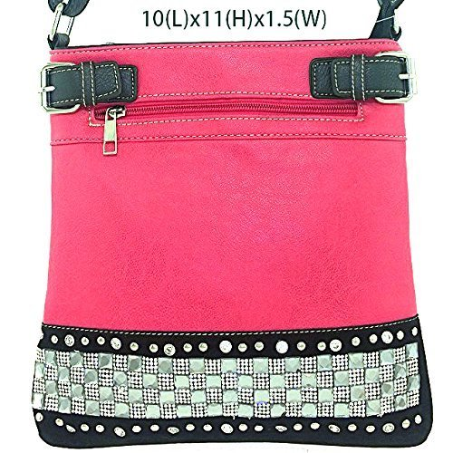 Rhinestone Studded Crystal Squares Messenger Bag Cross Body Purse (Pink)