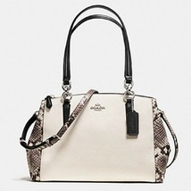 Women's Cream Coach Small Christie Carryall Snake Leather Trim - $362.82