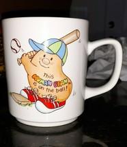 Human Beans Baseball Coffee Mug Cup Enesco 1981 Morgan Vintage - $1.90