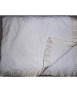 George Solid Ivory Cream Baby Blanket Satin Trim Sherpa Neutral Boy Girl... - $27.69