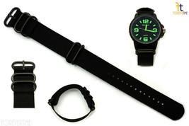22mm Fits Luminox Nylon Woven Black Watch Band Strap 4 Black S/S Rings - $19.75